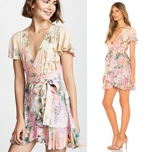 NWT SPELL Lily Mini Boho Floral Wrap Ruffle Dress